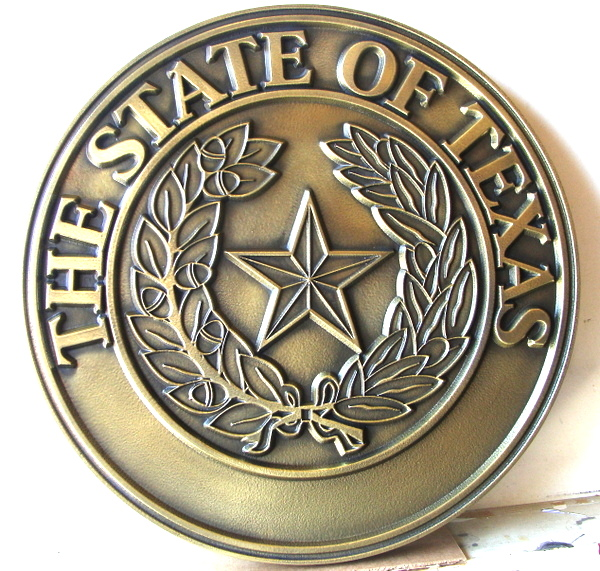 BP-1510 - Carved Plaque of the Great Seal of the State of Texas,  2.5-D Outline Relief, Brass-Plated