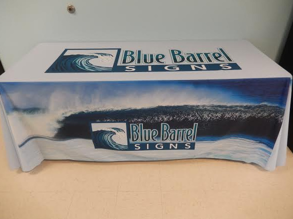 Custom imprinted trade show table throws Bend OR