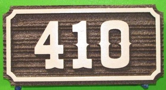 T29203- Carved  Sandblasted Wood Grain High-Density-Urethane (HDU) Room Number Plaque with Raised  Numbers