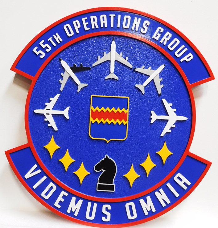 LP-3950 - Carved Plaque of the Crest of the 55th Operations Group, Artist Painted