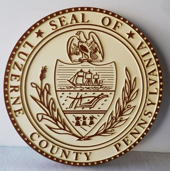 W32426 - Carved 2.5-D HDU Plaque of the Great Seal of the State of Pennsylvania
