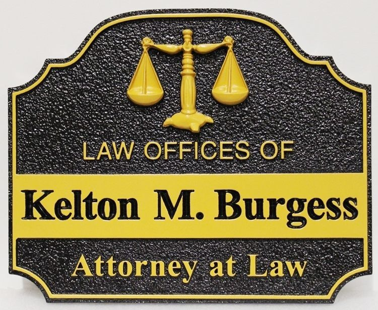 A10513 - Carved and Sandblastedsign for Kelton M Burgess, Attorney at Law,with Carved 3-D Scales of Justice as Artwork