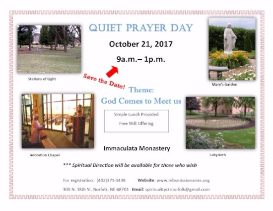 Quiet Prayer Day - October 21, 2017