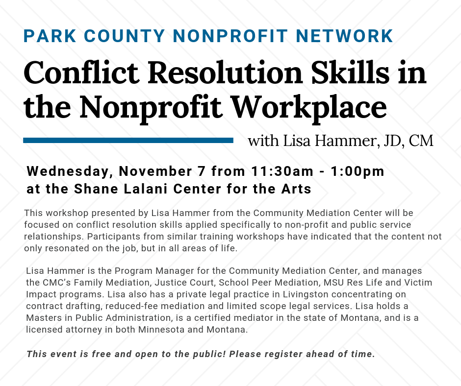 Park County Nonprofit Network - Conflict Resolution Skills