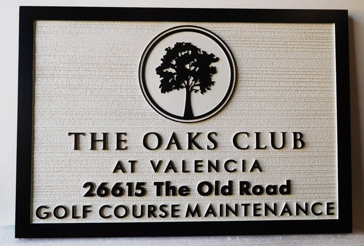 "E14237 - Carved HDU Sign, ""The Oaks Club at Valencia"", 2.5-D Raised Relief with Sandblasted Wood Grain Background"