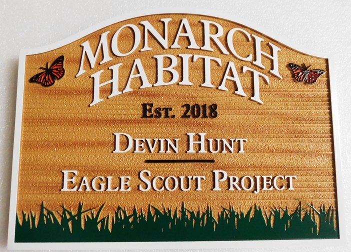 GA16481 - Carved and Sandblasted Wood Grain  Entrance  Sign for the Monarch Habitat, with Butterflies and Grass as Artwork