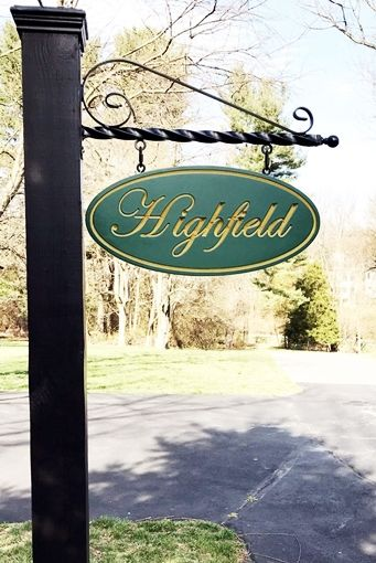 O24011 -  Engraved  HDU Entrance Sign for the Highfield  Farm, Hanging from Wrought Iron Scroll Bracket on Post