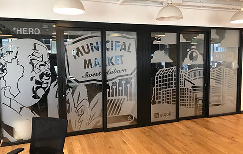 Frosted Vinyl Office Mural
