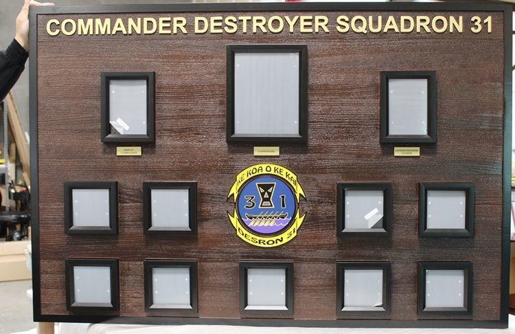 JP-1335 - Carved Cedar Chain-of-Command Board for the Commander Destroyer Squadron DESRON 31