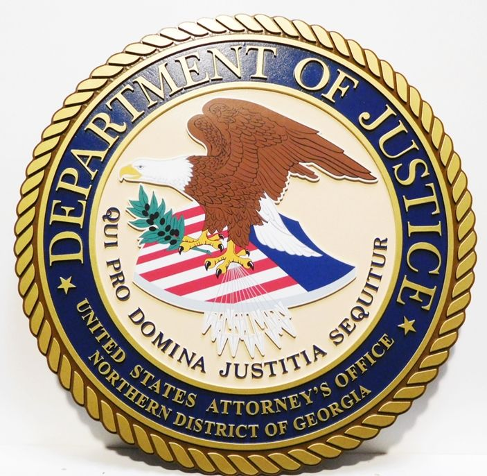 AP-2330- Plaque of the Seal of the US Department of Justice, Giclee on 2.5-D
