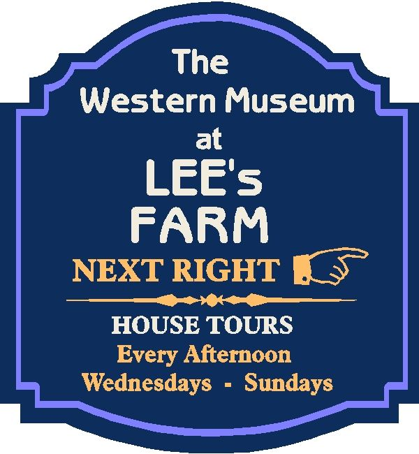 F15910 - Design of an HDU or Wooden Directional Sign for a Museum with Hours of Farmhouse Tour