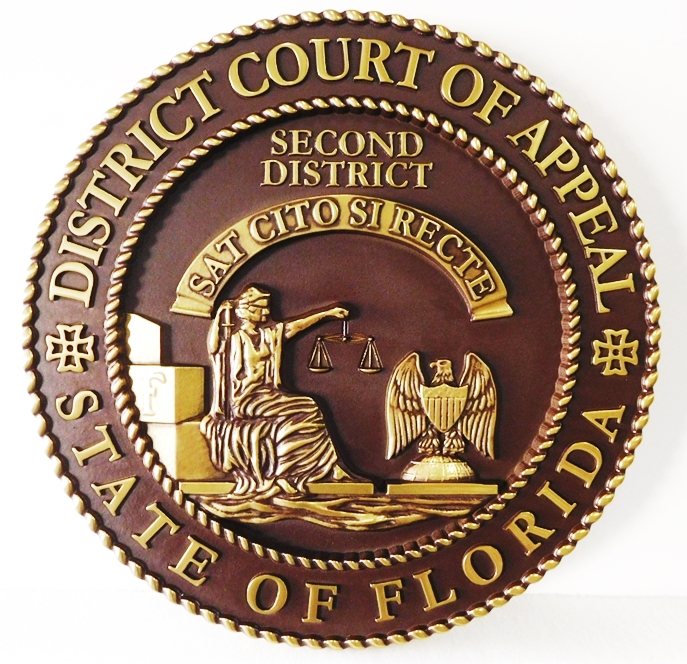 MB2225 - Seal of State of Florida District Court of Appeals, 3-D Hand-rubbed
