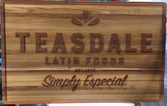 "Q25058 - Carved Cedar Wood Sign for ""Teasdale Latin Foods""  Restaurant, Stained in Two Colors"