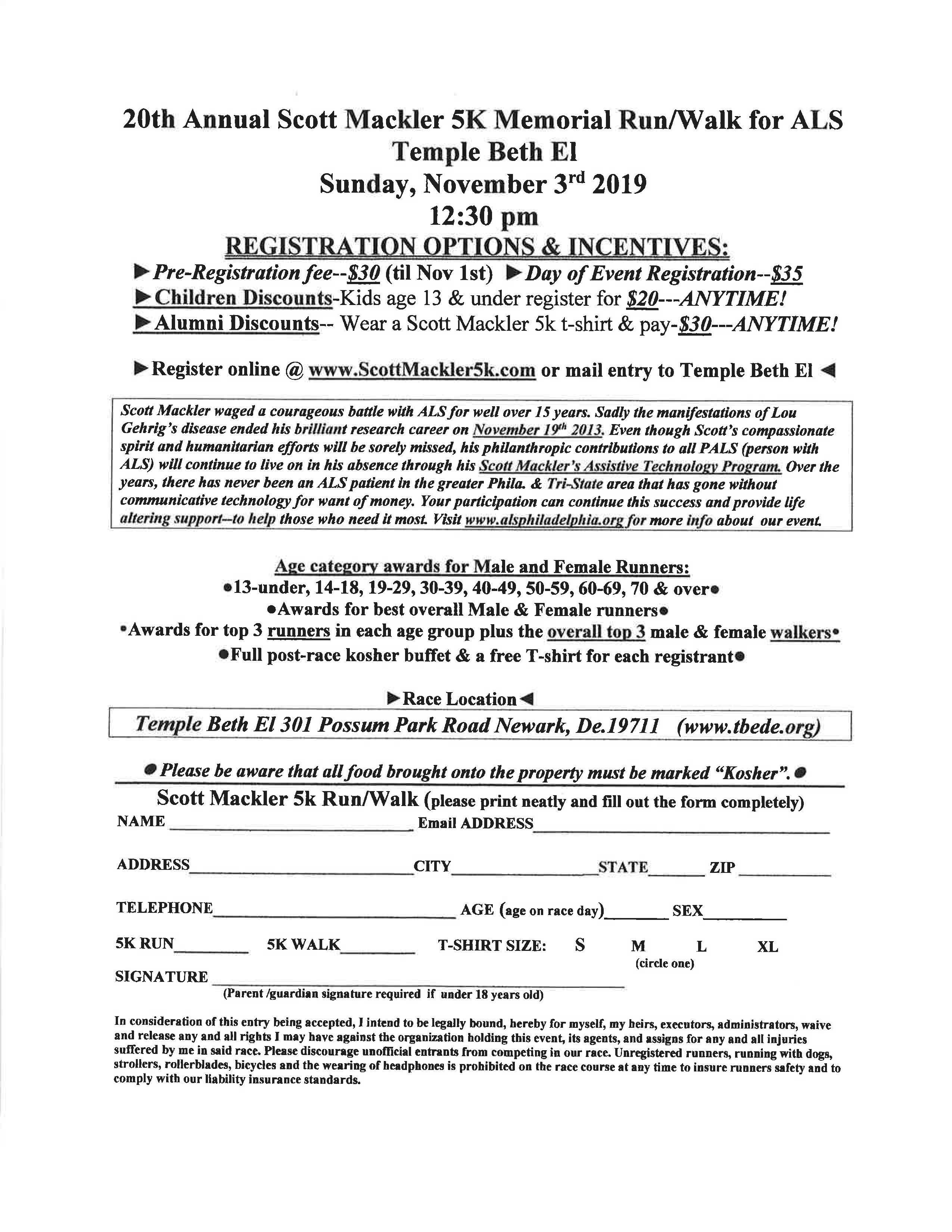 20th Annual Scott Mackler 5k Memorial Run/Walk for ALS