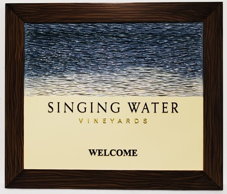 R27061 - Carved 3-D HDU sign for the Singing Waters Vineyard, with Water Waves and Wood Frame as Artwork