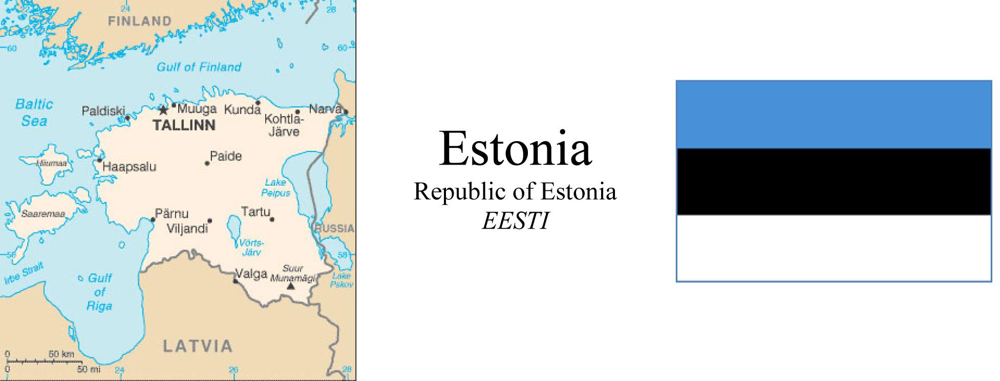 Estonia Map & Flag