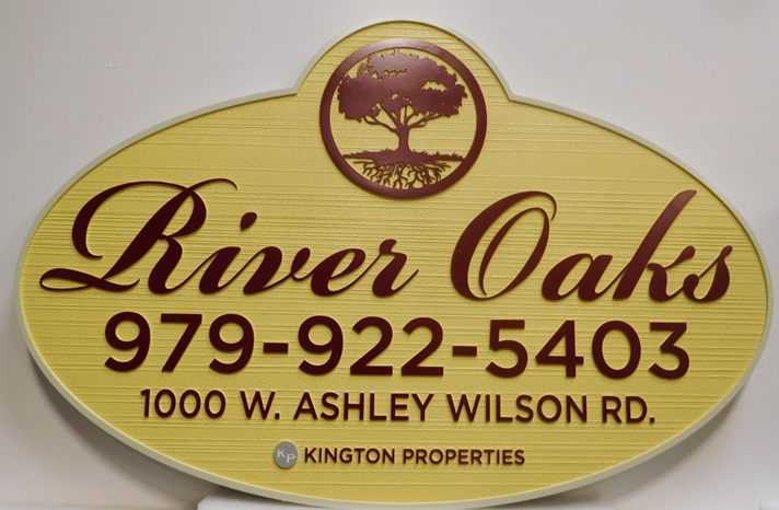 "K20347 - Carved HDU Entrance Sign for  the ""River Oaks "" Apartments,  with Wood Grain Sandblasted Background"
