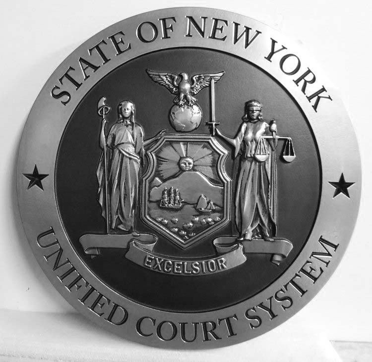HP-1110 - Carved Plaque of the Seal of the  New York Unified Court System, Aluminum Plated