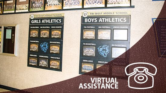 Descon virtual assistance link, shows school athletic team pictures display, custom signs, signage company