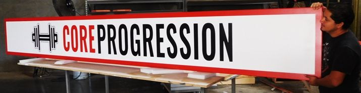 """S28108 - Carved  HDU Commercial Sign  for """"Core Progression """" ,  2.5-D Artist-Painted"""