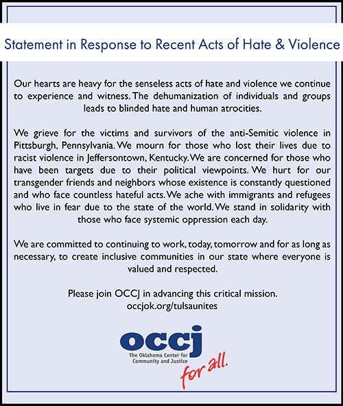 OCCJ Statement in Response to Recent Acts of Hate and Violence