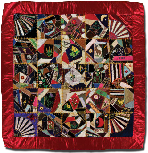 Crazy quilt, maker unknown, possibly made in Pennsylvania, United States, dated 1883, 68 x 65.5 in, IQSCM 2003.003.0192