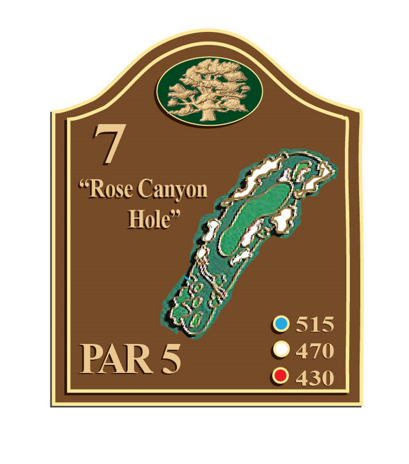 E14312 - Brown Dimensional Golf Course Tee Marker with Hole Layout