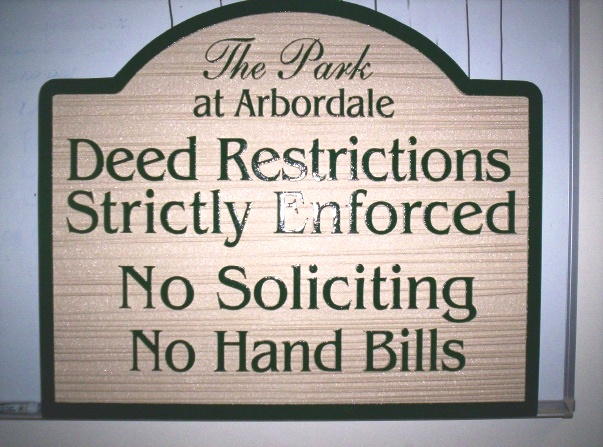 KA20730 - No Soliciting & Deed Restrictions Wood Sign