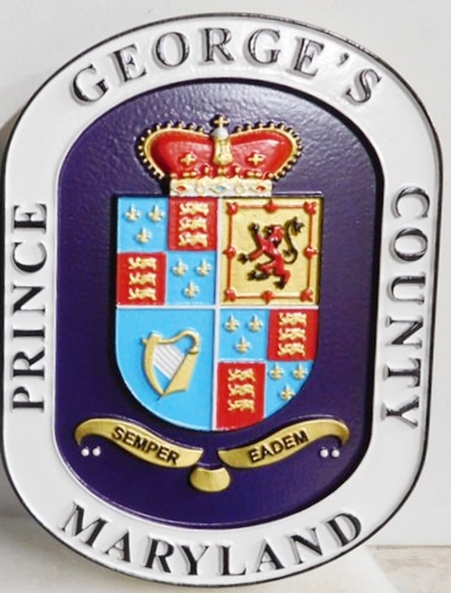 CP-1460 - Carved Plaque of the Seal of Prince George's County,  Maryland, 3-D Relief, Artist Painted