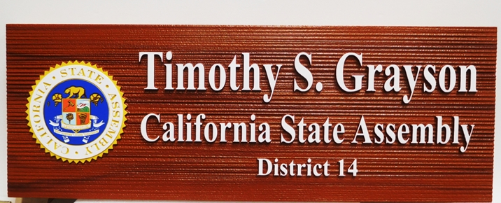 BP-1082 - Carved Name Plaque for California State Assemblyman, 2.5-D Sandblasted Redwood