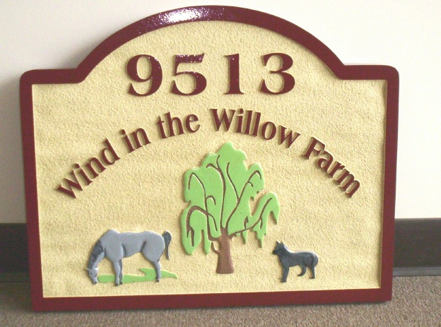 M1260 - Small Farm Sign, with Horse, Dog, and Willow Tree (Gallery 23)