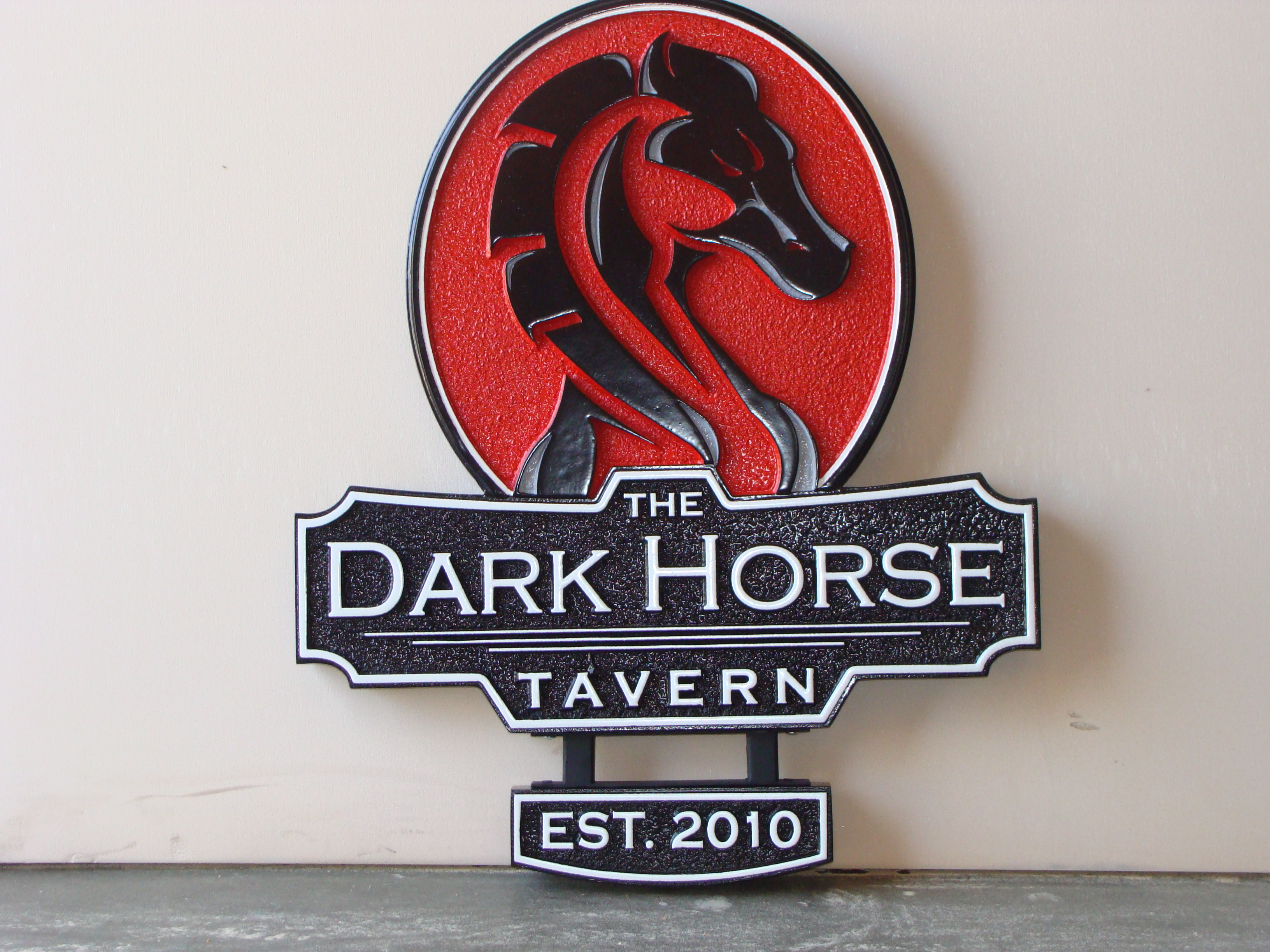 "Q25702 - Carved HDU (Wood Avail.) Sign for ""Dark Horse Tavern"" and Restaurant with Carved Head of Horse"