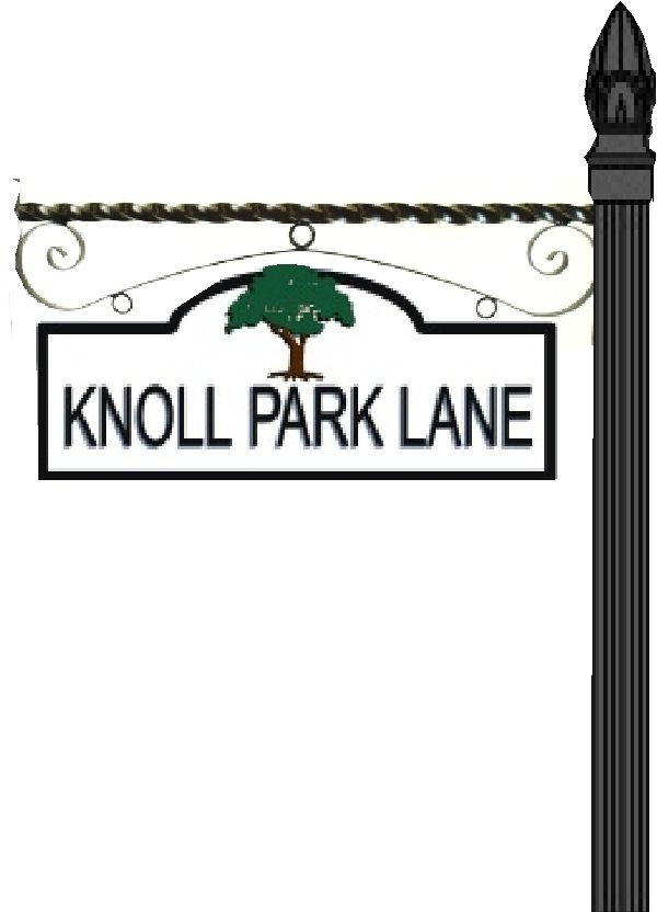 KA20668 - Design of Street Sign Mounted on Decorative Wrought Iron Scroll Bracket on Steel Post