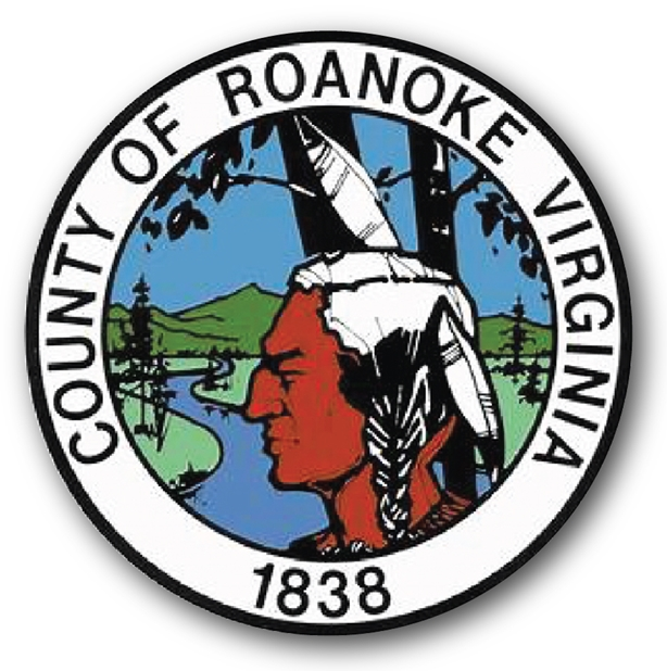 CP-1530 - Carved Plaque of the Seal of Roanoke County, Virginia,  Artist Painted