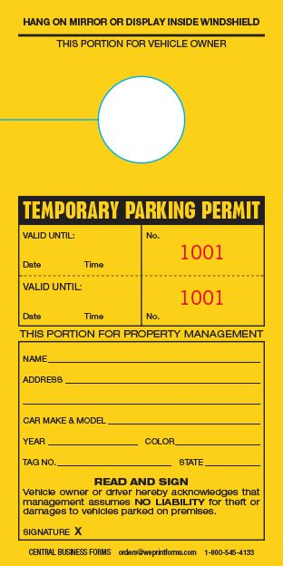 Temporary Parking Permit