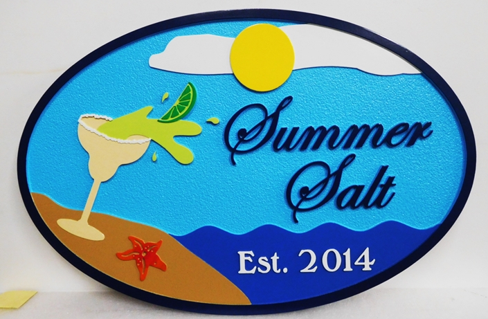 "L21113 - Carved Coastal Residence Sign ""Summer Salt"" Featuring the Ocean, a Beach, a cold Margarita,  and Starfish as Artwork"