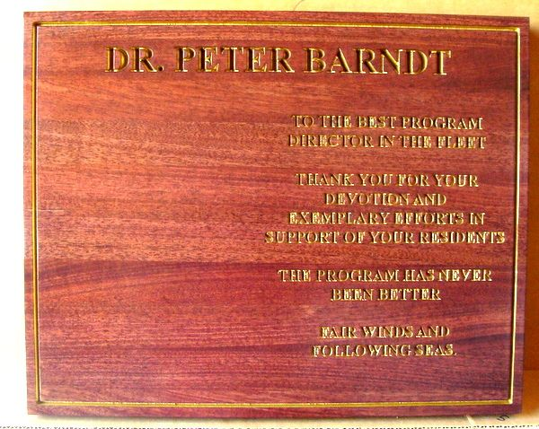 GC16560 - Engraved Mahogany Wall Plaque Memorializing Dr. Peter Barndt, US Navy.