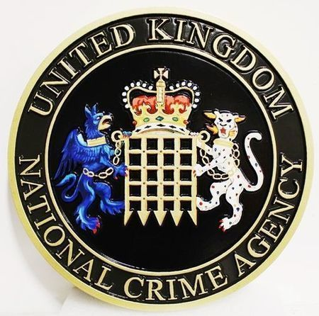 EP-1025 - Carved Plaque of the Seal / Coat-of-Arms  of the United Kingdom National Crime Agency, 2.5-D, Artist Painted with the UK  Crown,  Rampant Griffin and Leopard, and Portcullis as Artwork
