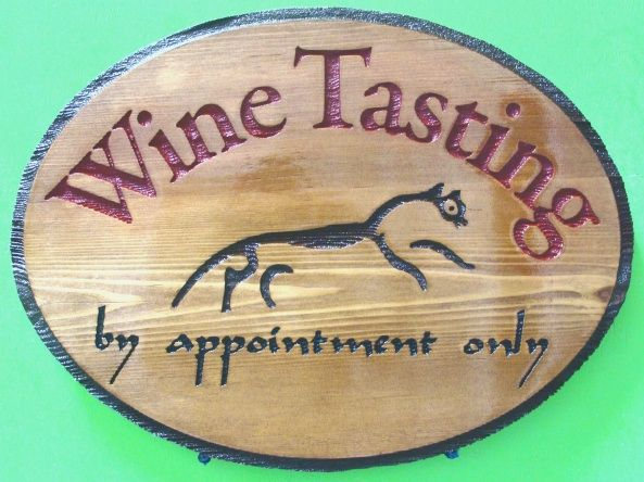 R27346 - Rustic Stained Wood  Engraved Wall Plaque for Wine Tasting Room