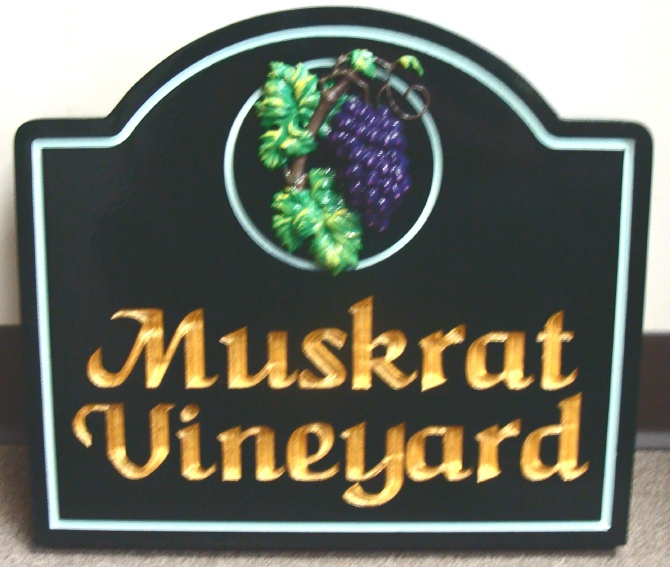 R27047 - Entrance Sign to Winery, with Carved Grape Clister