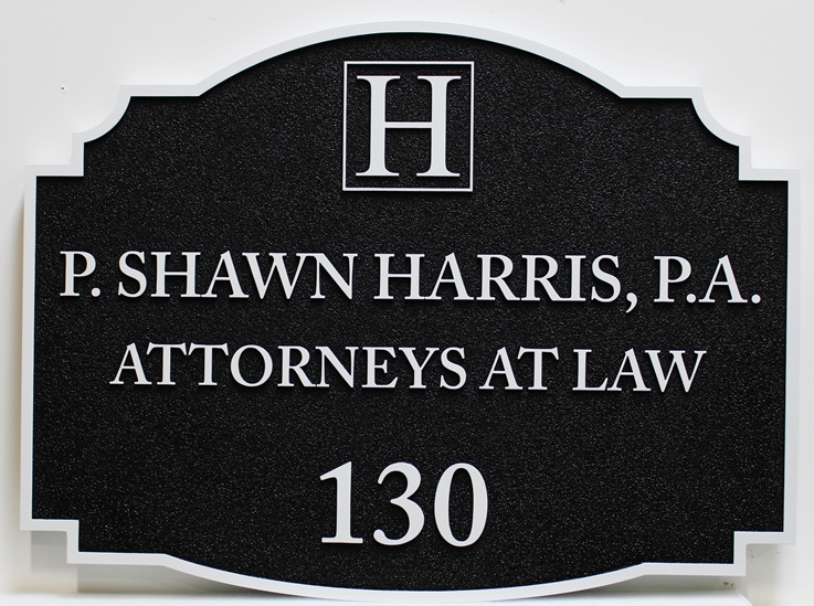 A10337 - CarvedHDU  Sign for the Law Offices of P. Shawn Harris, P.A., Attorneys At Law