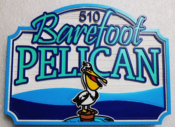 """L21628 - Carved Seashore Home Address And Name Sign , """"The Barefoot Pelican"""", with  the Ocean and  Comical Pelican as Art."""