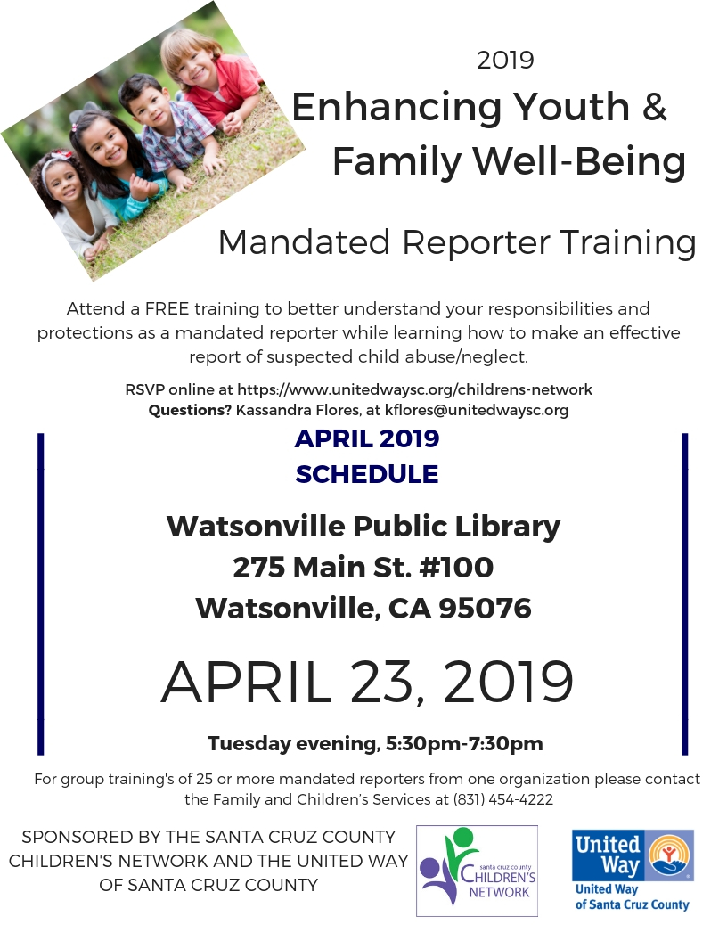 Mandated Reporter Training - April 23rd