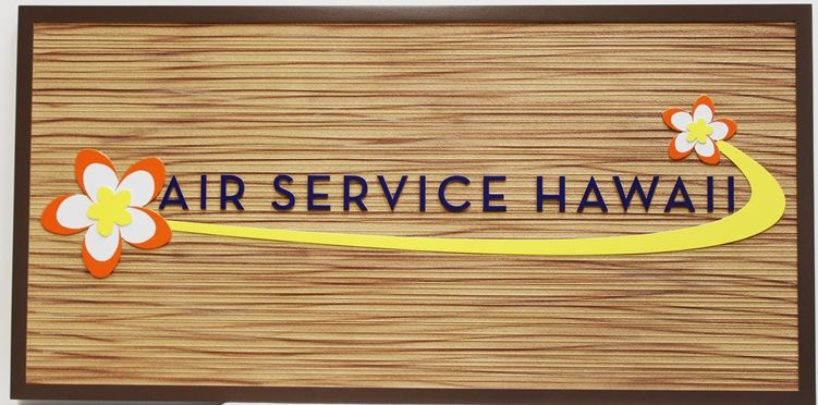 S28175 - Carvedand Sandblasted Wood Grain HDU  Sign for Air Service, Hawaii , with Logo as Artwork