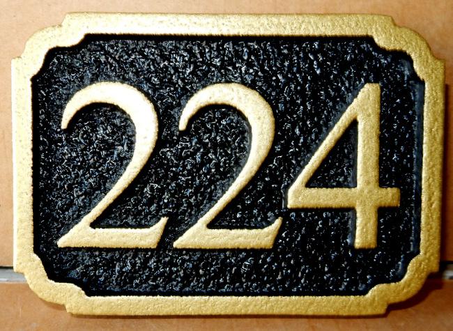 I18884 - Carved Black and Gold House Address Number Plaque