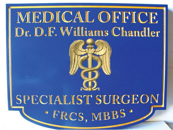 B11018 - Specialist Surgeon Medical Office Sign with 24K Gold Leaf Gilt Text and Borders and 3D Medical Caduceus
