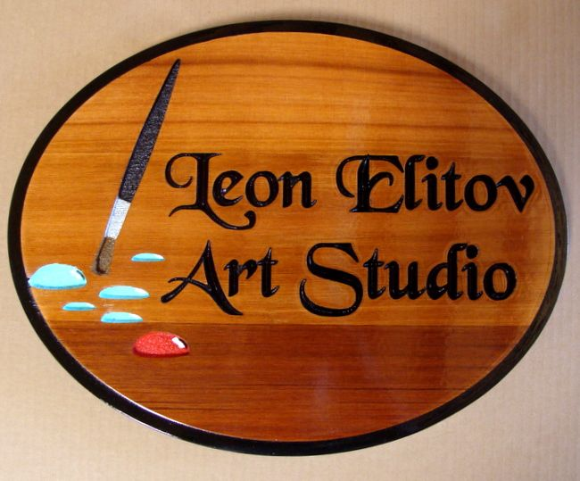 """SA28411 - Engraved Cedar Wood Sign for  """"Leon Elitov Art Studio"""" with Paint Brush and Paint as Artwork"""