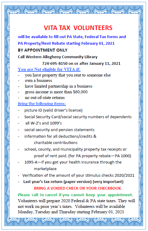 Get ready for tax season @ the library!