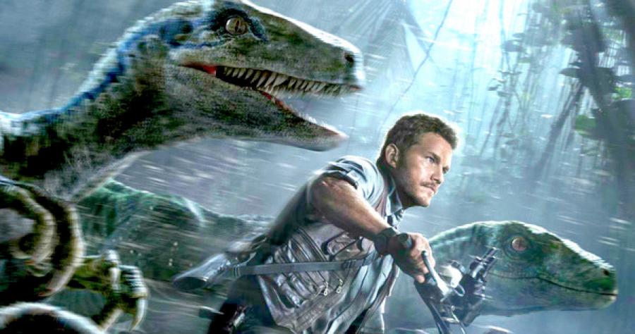 Photo of Jurassic World's Chris Pratt and velociraptors