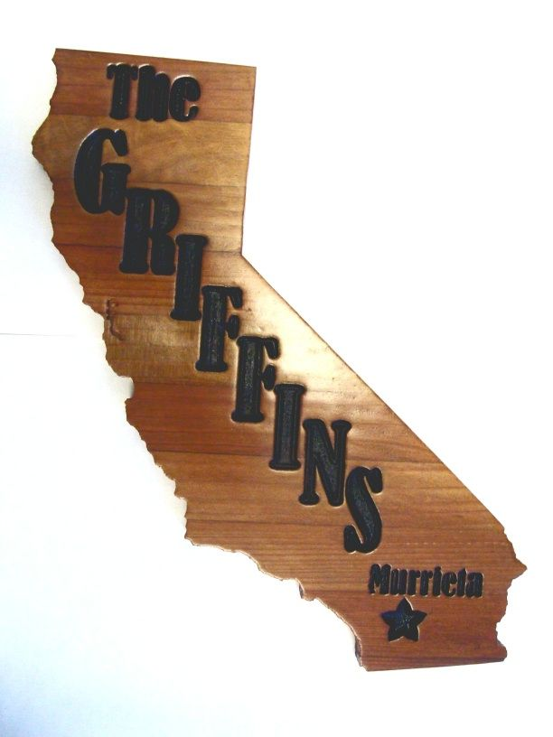 WP5045 - Address Plaque in Shape of California,Engraved Stained Redwood